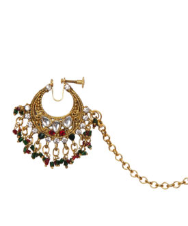 Red Green Gold Kundan Stone Beads Bridal Designer Nose Ring
