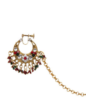 Red Green Gold Kundan Stone Studded Floral Bridal Nose Ring