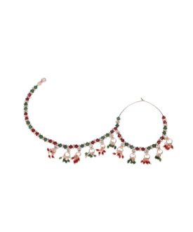 Red Green Beads Traditional Designer Bridal Nose Ring TNR28