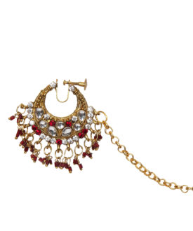 Red Gold Kundan Stone Studded Beads Bridal Nose Ring