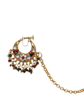 Red Green Gold Floral Kundan Stones Designer Nose Ring