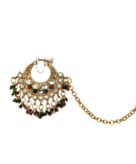 Gold Red Green Kundan Stone Studded Designer Nose Ring