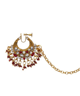 Gold Red Kundan Stones Bridal Designer Nose Ring