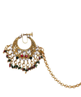 Kundan Bridal Red Green Stones Designer Nose Ring