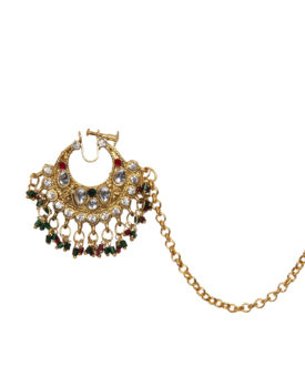 Kundan Red Green Gold Bridal Wedding Designer Nose Ring