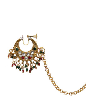 Gold Red Green Kundan Stone Studded Ethnic Nose Ring