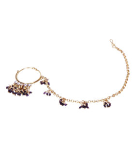 Purple Beads Silver Stone Studded Nathni Nose Ring