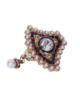 Traditional Red Green Stones Diamante Pearl Drop Brooch