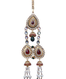 Traditional Kundan Matte Gold Red Green Pearl Teardrop Twin Challa/Waist Key Chain/Satka