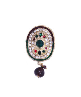 Red Green Traditional Maroon Drop Designer Brooch