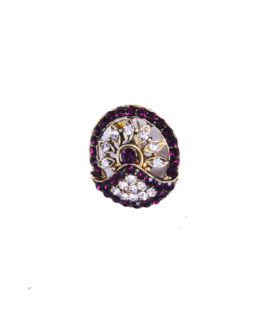 Purple Gold Stones Diamante Floral Delicate Brooch