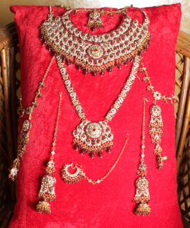 Exquisite Maroon and Gold Eight Pieces Bridal Set