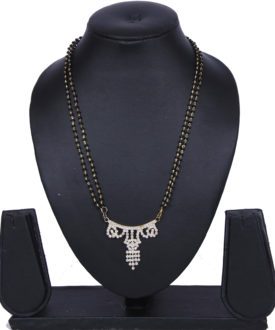 Gold Diamante Stones Pendant Gold Black Double Chain Mangalsutra