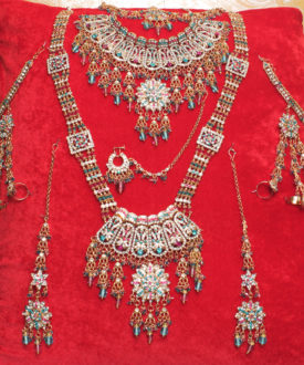 Exquisite Blue and Pink Eight Pieces Bridal Set