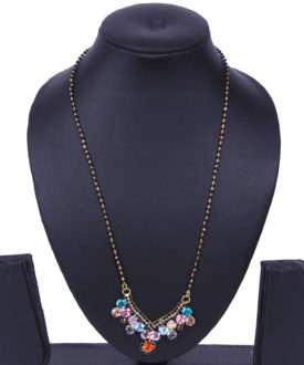 Floral Multicolor Stones Ethnic Black Gold Chain Mangalsutra