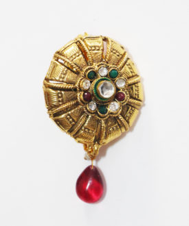 Gold Green Red Floral Stone Kundan Teardrop Brooch