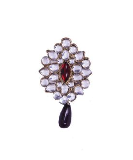 Ethnic Red Gold Green Kundan Beads Teardrop Brooch