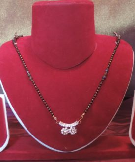 Diamante Twin Pendant Thick Chain Beads Mangalsutra
