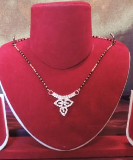 Diamante Leaf-Shaped Pendant Mangalsutra