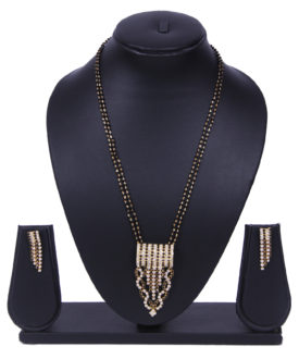 Ethnic Balck 2 Layer Chain Stones Mangalsutra Earrings Set