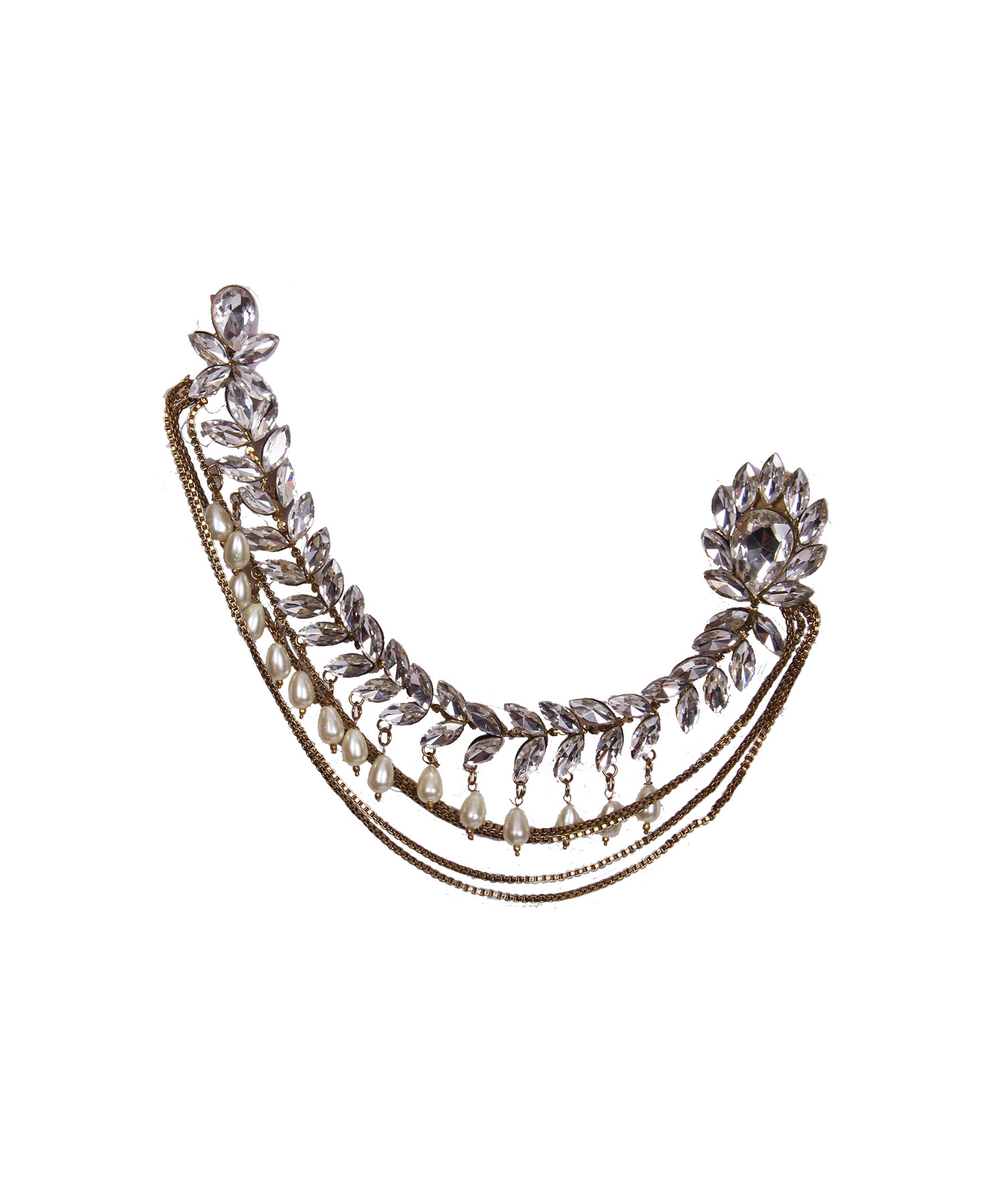 Silver Stones Studded Pearl Saree Double Brooch Pin