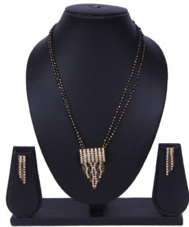 Traditional Diamante 2 Chain Black Mangalsutra Earrings Set