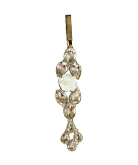 White Rose Diamante Gold Crystal Challa Waist Key Chain Satka