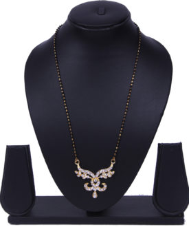 Black Gold Chain Floral Stones Diamante Mangalsutra