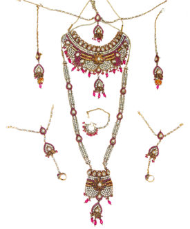Pink Gold Kundand Floral Stone Studded 8 Piece Bridal Set