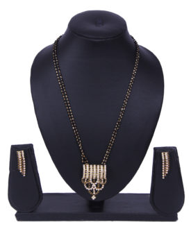 Designer 2 Chain Balck Diamante Mangalsutra Earrings Set