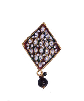 Royal Red Green Gold Kundan Diamante Drop Brooch
