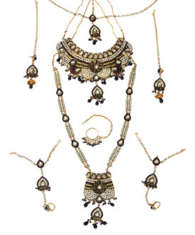Dark Purple Wine Kundan Gold Floral Stones 8 Piece Bridal Set