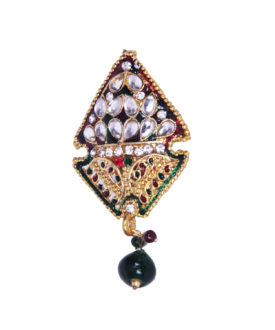 Ethnic Red Green Kundan Stones Beads Teardrop Brooch