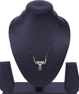Ethnic Black Gold Chain Stones Diamante Mangalsutra